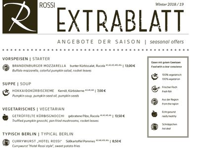 Hotel Restaurant Rossi Food Journal Speisekarte Tageskarte Extrablatt