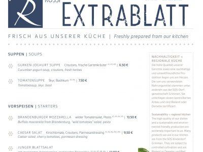 Hotel Restaurant Rossi Speisekarte Extrablatt
